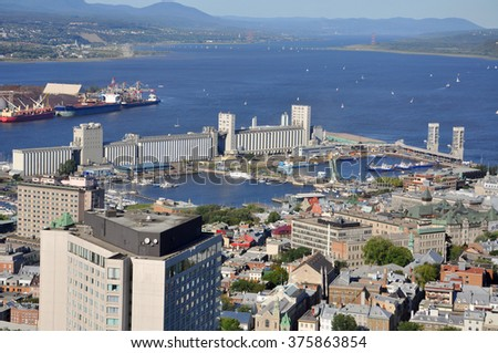 Port of Quebec and St Lawrence River Aerial view, view from Observatoire de la Capitale, Quebec City, Quebec, Canada. The Port of Quebec is the second largest port in Quebec Province.