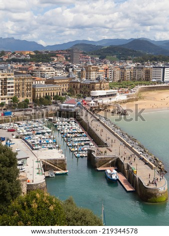Port of San Sebastian from Urgull, Basque Country. - stock photo