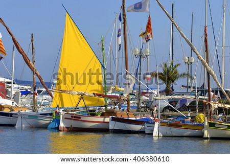 Port of Sanary-sur-Mer, commune in the Var department in the Provence-Alpes-Cote of Azur region in southeastern France. - stock photo
