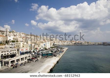 Port of Santorini Greece where the ships dock - stock photo