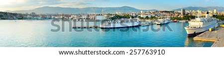 Port of Split at sunset. Panoramic view. Croatia - stock photo