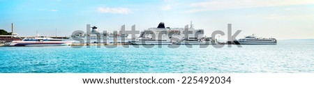 Port of Split in the sunshine day. Panoramic view - stock photo