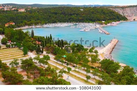 Port of Trieste Sistiana. Adriatic sea, Italy, Europe. - stock photo