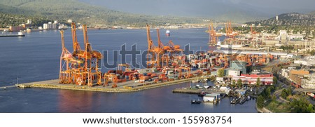 Port of Vancouver BC Canada with Ships Cranes and Cargo Containers Panorama - stock photo