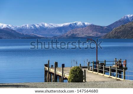 Port of Walter Peak, Lake Wakatipu, New Zealand - stock photo