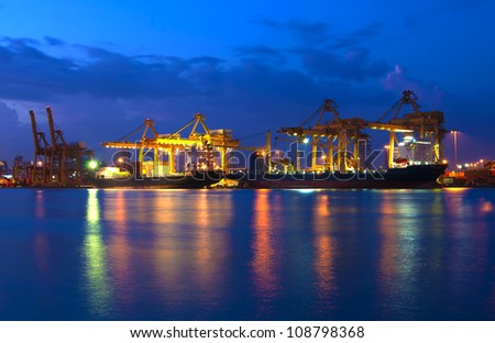 port on reflec of thailand - stock photo