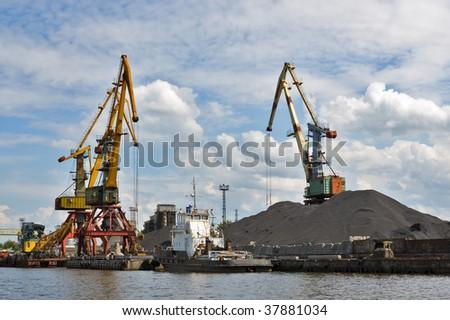 Port. Portal cranes - stock photo