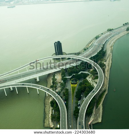 Port River Road ,High Angle View of Macau Building - stock photo