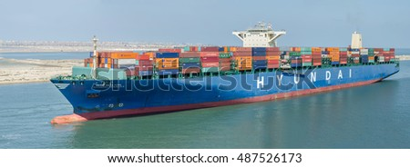 Port Said, Egypt - September 14:  Container vessel call at Port Said  on September 14, 2016  in  Port Said, Egypt.