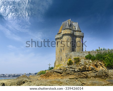 Port Solidor at low tide and the Solidor tower, Saint Malo in Brittany, France. - stock photo