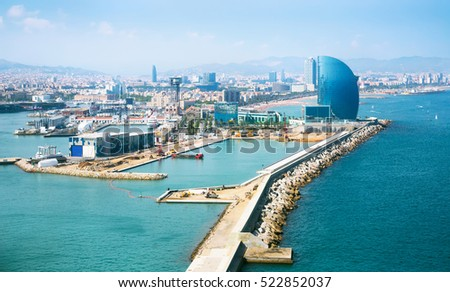 Port Vell and La Barceloneta district in Barcelona, Spain