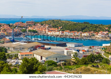 PORT-VENDRES, FRANCE - JUNE 26 2016: View of the Mediterranean town and fishing harbor.