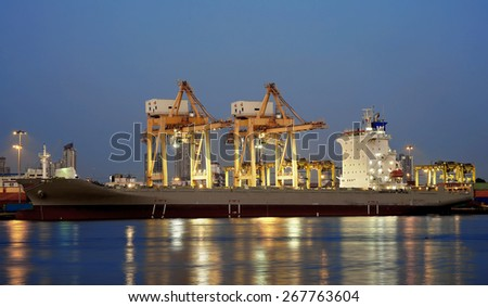 port warehouse with cargo ship and working crane