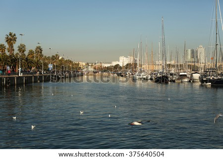 Port with yachts in Barcelona - stock photo