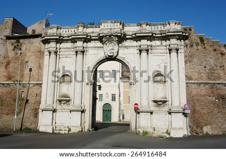 Porta Portese Gate , famous open-market site in Rome, Italy - stock photo