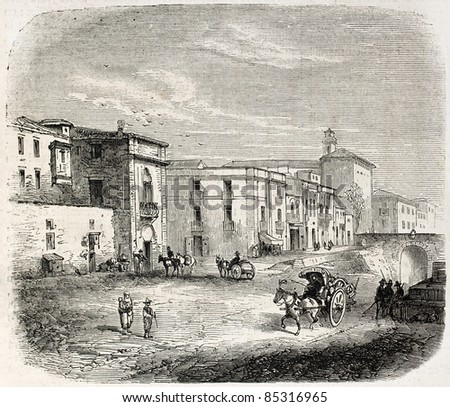 Porta Termini old view, Palermo, Sicily. Created by Rouargue, published on L'Illustration, Journal Universel, Paris, 1860