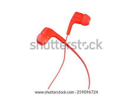 portable audio earphones isolated on white background - stock photo