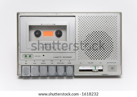 Portable cassette recorder. Old and scratchy. - stock photo