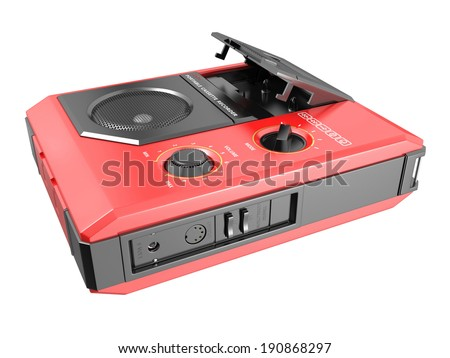 Portable cassette recorder on white background. 3D image