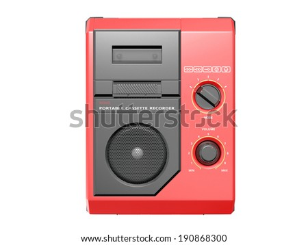 Portable cassette recorder on white background. 3D image - stock photo