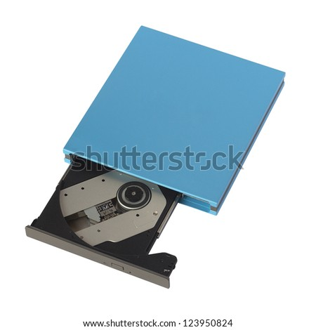 Portable Cd/Dvd external drive isolated on white - stock photo