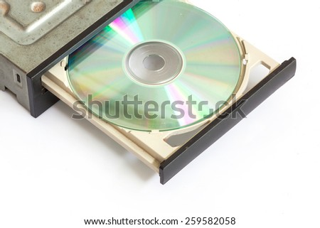 Portable Cd / Dvd external drive on white background - stock photo