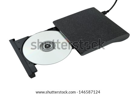 Portable Cd/Dvd external drive on white background (with clipping path) - stock photo