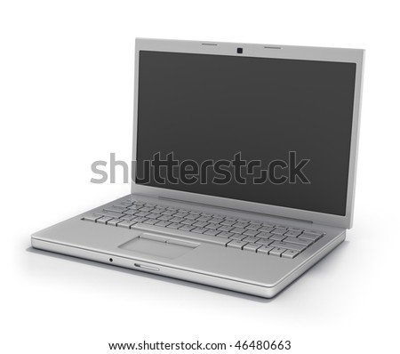 Portable Computer Left Facing (Clipping Path Screen & Outline)  Isolated on White Background - stock photo