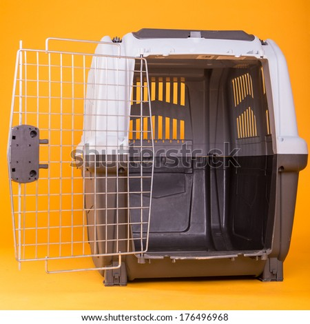 portable dog cage - stock photo