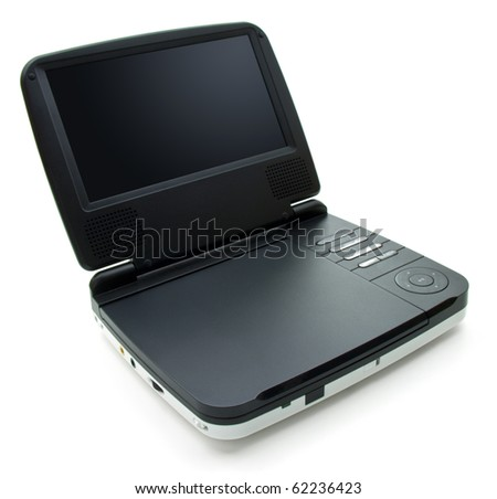 Portable DVD player with small screen and white colored body - stock photo