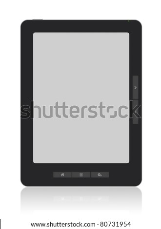 Portable e-book reader with two clipping path for book and screen. You may add your own text or picture. - stock photo