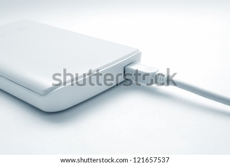 Portable external hard drive with mini USB connection