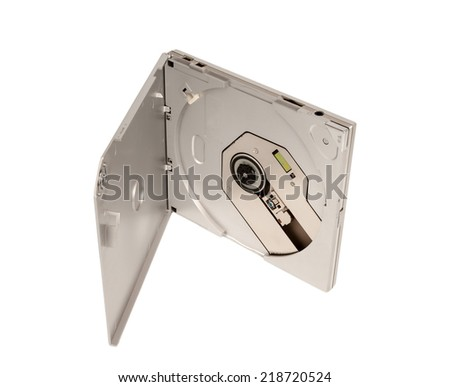 Portable external slim CD DVD drive isolated on white background - stock photo