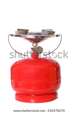 Portable gas cylinder for hiking and fishing isolated on white background - stock photo