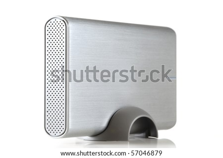 Portable hard disk drive isolated on white background - stock photo
