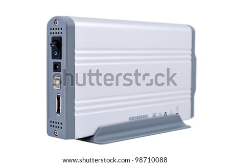 "Portable Hard Drive 3.5 ""on the stand. Back view - stock photo"