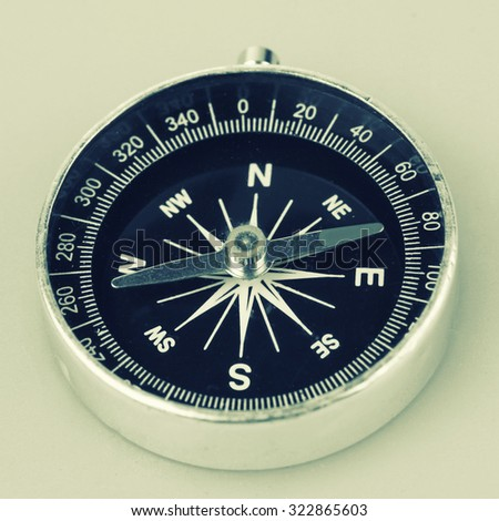 Portable magnetic compass -Vintage effect style.