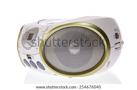 Portable MP3, CD, DVD Audio. Isolated on White Background - stock photo