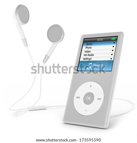 Portable musical player and headphones. - stock photo