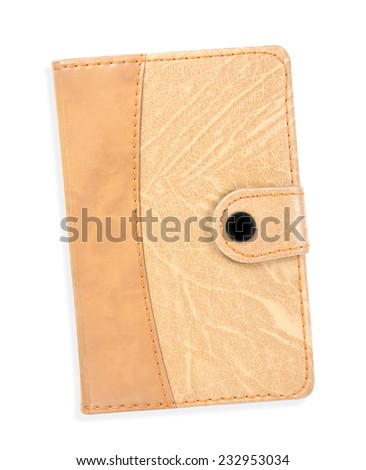 Portable notebook cover isolated on white background