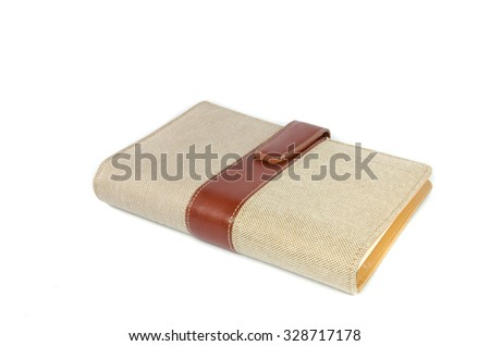 Portable notebook cover isolated on white background - stock photo
