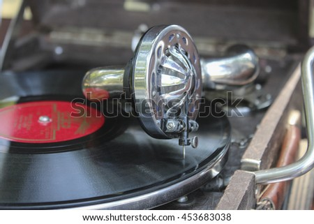 Portable old soviet gramophone close up