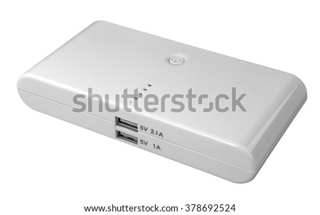 Portable power bank for charging mobile devices isolated on white background. Clipping path included. - stock photo