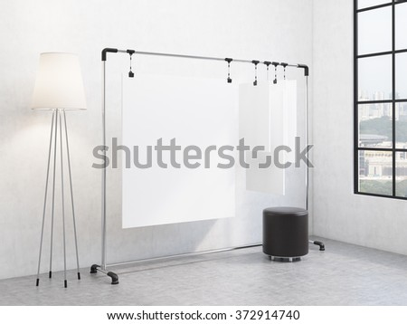 portable rack for paper in the corner of the room, paper sheets clipped to it, window with a city view and a pouffe to the right, standard lamp to the left. Concept of demonstration. 3D rendering - stock photo
