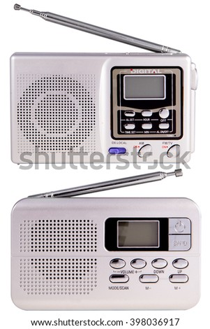 Portable radio set isolated on white background