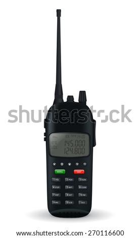 Portable radio transceiver  isolated on white background. Raster version - stock photo