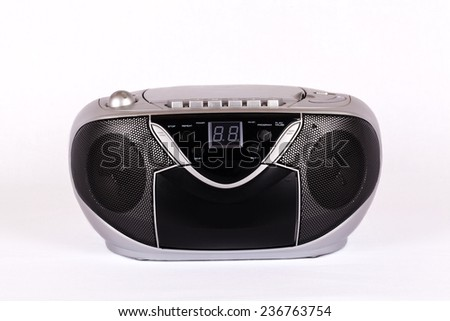 Portable silver radio - stock photo
