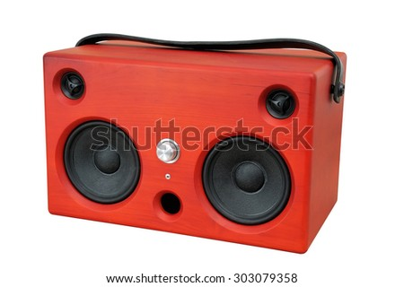 Portable Speaker System Red - stock photo