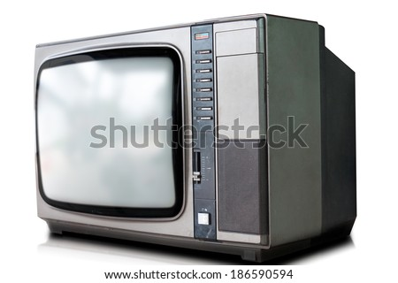 portable television isolated with thurn off screen. - stock photo