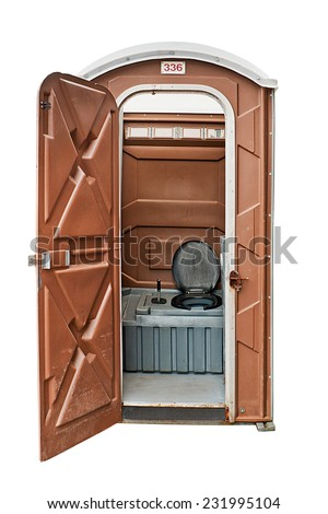 Portable toilet often called a portaloo and hired for large outdoor festivals or events. - stock photo